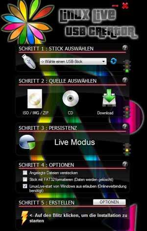 Linux live usb stick